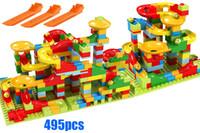 jogo de construção venda por atacado-495 pcs Tamanho Pequeno Marble Run Set Puzzle Labirinto Jogo de Pista de Corrida de Brinquedo Roller Coaster Construção Tijolo Bloco de Construção de Brinquedo