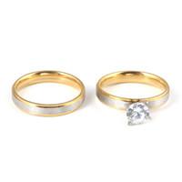 flores de uñas al por mayor-Los anillos de boda clásicos del amante establecen anillos sólidos de alto brillo para la joyería de compromiso
