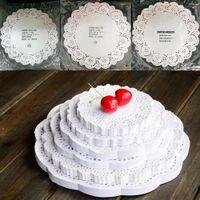 encaje redondo de papel al por mayor-Al por mayor-80Pcs / lot Placemat Wedding Birthday Prom Party Cute Round Lace Paper Doilies Craft Cake DIY Decoration 11.4cm-26.7cm