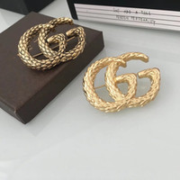 Wholesale big plates stamping for sale - Group buy fashion luxury women s female s ladies stamped big logo G brooches pins with box