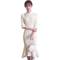 китайские дамы cheongsam оптовых-New Arrival Chinese Women's Lace Elegant Catwalk Qipao Printed Lady Qipao Dress Cheongsam Sexy Dress Clothing Size S M L XL XXL