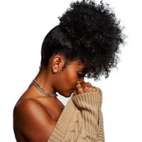 Wholesale ponytail kinky curly hair extension for sale - Group buy African american afro kinky curly ponytail hair extension human hair afro puff bun chignon for black women