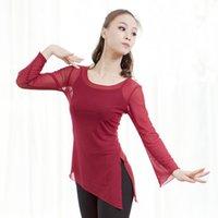 tops de baile puro al por mayor-Las mujeres bailan camiseta larga camiseta de baile lírico pura malla ballet camisa bailarina ropa