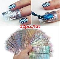 ingrosso chiodi stencils d'arte-12 fogli / Lotto adesivi 3D fai da te riutilizzabili fai da te adesivi in vinile stencil guida hallow manicure manicure onda curvo punta laser nuovo