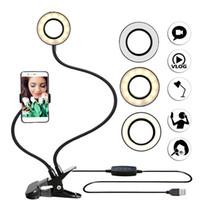luzes da noite da foto venda por atacado-Photo Studio selfie LED Light Anel com celular titular Mobile para Lamp Maquiagem Camera Night Light interior