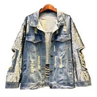 artı boyutu kadın denim ceket toptan satış-2019 El Yapımı Pullu Kot Ceketler Kadın Yeni Delik Denim Ceket Kadın Artı Boyutu Ceket Rahat Temelleri Ceket Streetwear Kadınlar