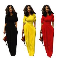 uzun sarı yaz rahat elbiseler toptan satış-Kadın maxi dress cepli uzun yaz yaz etek casual seksi parti dress 1/2 kollu kat uzunlukta etekler streetwear clothing siyah sarı kırmızı