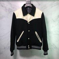 parejas chaquetas de cuero al por mayor-19FW lujo mosaico europeo chaqueta de cuero moda de alta calidad cómodo Chaqueta de béisbol Parejas hombres de las mujeres Escudo Diseñador zdl0919.