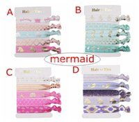 Wholesale foe ribbon resale online - INS NEW Mermaid Glitter gold Hair Ties unicorn Ponytail Hairband Rope Hair Band Accessories Elastic Girls Knot FOE Ring pc in card