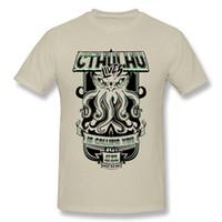 Wholesale diy tshirt printing online – design HU GH Funny T Shirts Men Cthulhu is Calling You tshirt Cotton Summer Clothing Adult DIY Custom Shirt