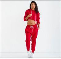 roter schwarzer jogginganzug großhandel-Frauen Trainingsanzüge Solid Black Red Sexy Frauen Casual Anzug Pullover Mit Hose Jogging 2pc Set Trainingsanzüge