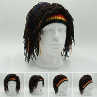 ingrosso cappello di capelli lavorato a maglia-Cappelli Cappello Capelli Rasta Reggae Dreadlocks unisex giamaicani maglia Berretti parrucca donna cappello del partito