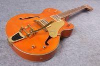 landgitarren großhandel-Gre Falcon G6120 Metal Orange Farbe Chet Atkins Country Jazz Halbhohlkörper E-Gitarre Pearlicid Buckel Intarsien goldenen Swing Tail
