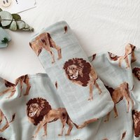 Wholesale camel blanket for sale - Group buy muslin Two layer Bamboo cotton Camel lion elephant animal pattern Baby wrap muslin swaddle Newborn Blankets Gauze infant wrapMX190910