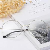 Wholesale korean eyewear frame online - Oversized Korean Round hexagonal Glasses Frame Clear Lens Women Men Gold Eyeglass Optic Frame Eyewear Vintage Spectacles