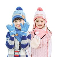 Wholesale children gloves hat sets for sale - Group buy Kids Winter Scarf Hat Set For Kids Boys Girls Knitted Hats Scarfs Glove Sets Pompom Cap Scarves Children Warm Suit