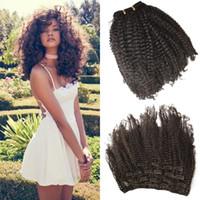 kinky kıvırcık insan saçı satışı toptan satış-Sıcak Satış 7 adet / takım 4a, 4b Afro Kinky Kıvırcık İnsan Saç Uzantıları Klip Siyah Kadınlar Için doğal Siyah 8-24 inç FDSHINE SAÇ