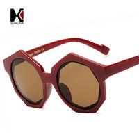 takviyeli plastik toptan satış-Takviye Metal Menteşe Kadın Altıgen Plastik Güneş Gözlüğü Moda Erkekler Yuvarlak Lens Gölge Sokak Yendi Gözlük