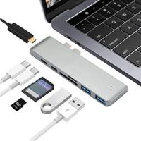 adaptador multi tarjeta al por mayor-Adaptador multipuerto de tipo C Hub USB C con 4K HDMI para MacBook Pro 2018 2016 2016 SD / Micro Card Reader