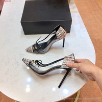 Wholesale fashion show transparent resale online - Spring summer fashion show Street style high heel sandals transparent elements stitching woven fabrics Size