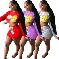 senhoras tops saia longa venda por atacado-Mulher dos desenhos animados Imprimir Sexy Outfits Lady manga comprida O-Neck Top Curto Slim Fit Saia Curta Feminino Moda Praia Ternos L-JJT620