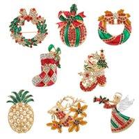 estoque de broches venda por atacado-8 estilos Broche Natal Pinos strass esmalte da árvore de Natal de Bell abacaxi meia Broches Para Mulheres jóias broche Xmas presente N6Y