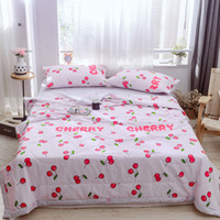 manta de algodón rojo al por mayor-Red Cherry 1PCS colcha de algodón colcha / funda de cama, también buen uso como manta de verano 200 * 230/150 * 200/180 * 200cm