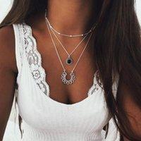 ingrosso collana della ragazza del fiore del pendente nero-Collane a più strati Collana con pendente Waterdrop a fiore in cristallo nero per donne e ragazze (tono argento)