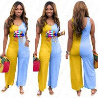 Wholesale woman colorful lips for sale - Group buy Women Sleeveless Jumpsuit Lips Pattern Summer One Piece Bodysuit Ladies Rompers Casual Patchwork Colorful Loose Pants S XL D5603
