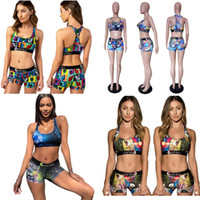 Wholesale set blocks resale online - Women Ethika Cartoon Swimwear Beach Designer Tankinis Animal Color Block Swimsuit Sexy Push Up Bra Vest Shorts Piecs Bikini Set C6304
