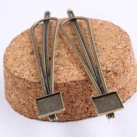пустые булавки для ювелирных изделий оптовых-8 мм квадратный кабошон заколка для волос база настройки поделки античная бронзовая пустая заколка для волос прищепка лотки для изготовления ювелирных изделий