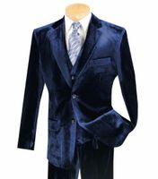 Wholesale royal blue velvet tuxedo resale online - Velvet Navy Blue Notched Lapel Wedding Tuxedo Men s Suit Slim Fit Formal Groom Prom Dinner Leisure Blazer Pieces Jacket Pants