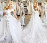 Wholesale wedding dress chapel length tulle train resale online - New Wedding Dresses Off The Shoulder Appliques Tulle Floor Length Illusion Country Wedding Dress Plus Size Bridal Gowns
