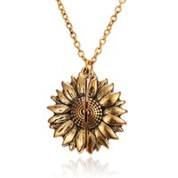 Wholesale resin lockets resale online - Fashion Women Sweater Chain Sunflower Necklace Open Locket You Are My Sunshine Pendant Necklace Resin Flower Girl Gift Jewelry