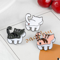 Wholesale butt plate resale online - Cat Butt Pins Black White Orange Cat Brooches Tabby Lapel pins Kitty Badges Gift for cat lover