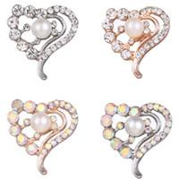 pulseira de ouro rosa venda por atacado-Nova Prata 18 milímetros botão Snap coração jóias completa Rhinestone Amor 18 milímetros snap Jóias Fit Rosa Colar Pulseira snap ouro