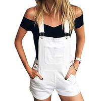 ingrosso pantaloncini in jeans xl-Tuta di jeans alla moda per donna Tuta Pagliaccetti di jeans femminili Tutina da donna Salopette Cinghie Tute Pantaloncini Pagliaccetti estivi