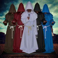 ingrosso vestito medioevale-Halloween Cosplay Designer Mens Robe In Medieval Times Godsworn Vestito per Halloween con i vestiti + croce + corda di lusso costume Mens 5 colori