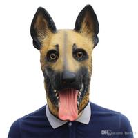 masques respirants achat en gros de-Tête de chien Latex Masque Visage Masque Adulte Respirant Halloween Mascarade Fantaisie Robe De Fête Costume Cosplay Costume Belle Animal Masque