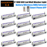 Wholesale 12 houses for sale - Gigertop RGBWA UV x18w Wireless Battery Powered Led Bar Wash White Wall Par white color iron housing lcd display g wireless