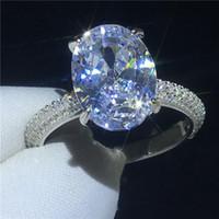 gümüş oval ring erkek toptan satış-Deluxe Promise ring 100% Topraklar 925 Ayar Gümüş Oval kesim 4ct Diamon Cz Nişan düğün band yüzük kadın Erkek takı için