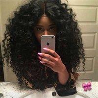 pelucas de cabeza rizada al por mayor-Pelucas del cordón del pelo humano rizado para las mujeres negras Pelucas llenas del cordón de la cabeza llena Pelucas del pelo humano de la Virgen Color natural Bellahair 8A