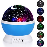 Wholesale lights for baby nursery resale online - Nursery Night Light Projector Star Moon Sky Rotating Battery Operated Bedroom Bedside Lamp For Children Kids Baby Bedroom R0690