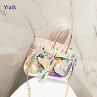Wholesale zipper plastic gift bags resale online - YTAIK Clear Beach Handbag Laser Women Transparent Totes Gift Bag PVC Plastic Shoulder bag Female Candy Color Crossbody Bag