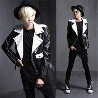 New Arrival Fashion Mens Punk Gothic Motor Leather Jacket Man Slim Fit Short Coat Outwear Black white Biker Jackets