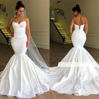 Wholesale simple elegant wedding dress champagne for sale - Group buy Elegant Plus Size Spaghetti Straps Lace Mermaid Wedding Dresses Tulle Applique Sweep Train Wedding Bridal Gowns With Lace Up BC1956