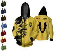hoodie türleri toptan satış-8 Tipi Moda Harry Potter Tam Zip İnce Hoodies Serin Kazak Ceket Ceket Tops Unisex Jumper Kazak streetwear