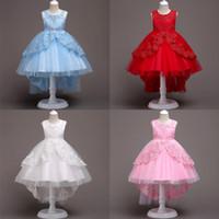 kızlar gazlı bez prenses etek toptan satış-Bebek Kız Prenses Elbise Bebek Skitr Kuyruk Elbise Kız Kabarcık Etek Gazlı Bez Dantel Yuvarlak Boyun Kolsuz
