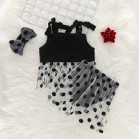 Wholesale polka dot t shirt infant resale online - Summer Fashion Baby Girl Outfits Set Polka Dot Printed Strap Top T shirt Mesh Skirt PP Shorts Headband Infant Clothes