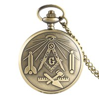 Wholesale square retro pendant necklace resale online - Bronze Masonic Freemasonry Chrome Square and Compass Mason Retro Analog Quartz Pocket Watch Necklace Pendant Chain Gifts for Freemason